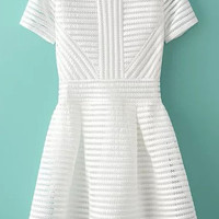 White Striped Short Sleeve A-Line Mini Skater Dress