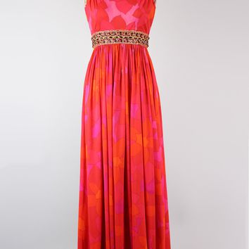 Vintage 1960s Malcolm Starr Bold Coral Beaded Gown