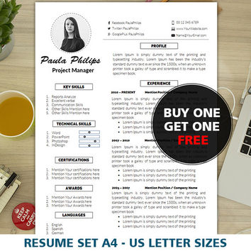 Modern Resume Template | Cover Letter Template | A4 and US Letter | Mac & PC | Resume Template Word | CV Template | 2 Page Resume | Teacher