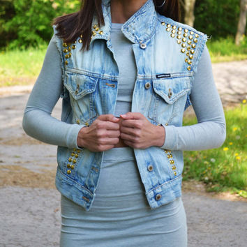 Distressed Coachella Denim Studded Vest Jacket Cropped Denim Distressed Tye Dye Vest Jacket Sleeveless Denim Jacket Coachella Size M
