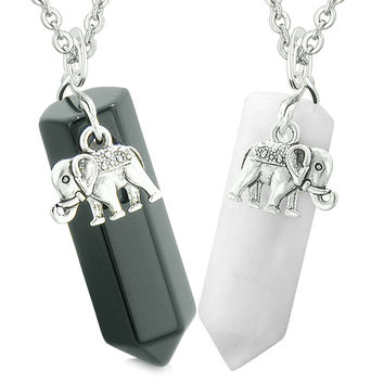 Lucky Elephant Charms Love Couples or Best Friends Crystal Points Black Agate White Quartz Necklaces