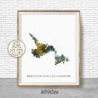 Newfoundland and Labrador Map Art, Office Art Print, Watercolor Map Print, Map Artwork Office Decorations, Country Map, Art Print Zone