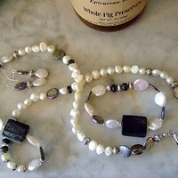 """Cultured Pearl, Mother of Pearl, Necklace Set, Diameter: 29"""", Unique Gift for Her, Handmade Jewelry on Etsy, Women's Handmade, Anniversary"""