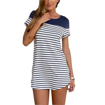 Casual Women Short Sleeve Tee Shirt Dress 2017 Fashion New Arrival Stripes Stitching Summer Beach Mini Dress Female Home Dress