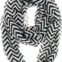 Vivian & Vincent Soft Light Weight Zig Zag Chevron Sheer Infinity Scarf (Black/White):Amazon:Clothing