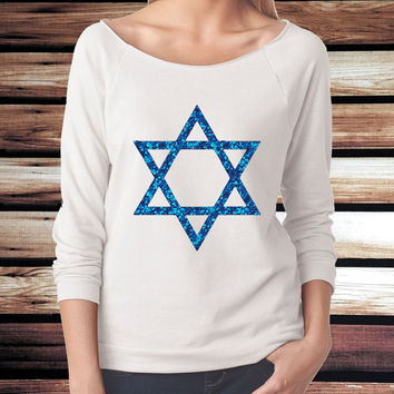 Hanukkah Shirt - Hanukkah Shirt for Women - Star of David Shirt - Glitter Star of David Shirt - 3/4 Sleeve Shirt - Glitter Hanukkah Shirt