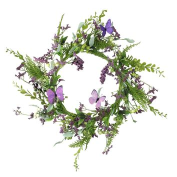 "24"" Decorative Purple and Green Mixed Berry and Butterfly Artificial Floral Wreath - Unlit"