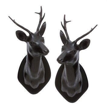 Black Stag Head (set of 2) | Eichholtz