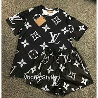 LV Louis Vuitton Summer Women Casual Short Sleeve Top Shorts Set Two-Piece Sportswear Black