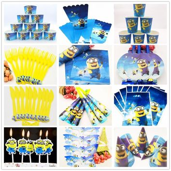 Minions birthday party supplies Tablecloth Theme Party For Kids Happy Birthday Decoration Disposable Tableware Party Supplies