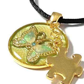 Autism necklace, autism awareness jewelry, autism pendant, gold plated, butterfly necklace, mom necklace, autism puzzle  charm necklace.