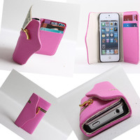 Nice Mobile phone Wallet With Card Leather Case for iPhone 4/4S/5