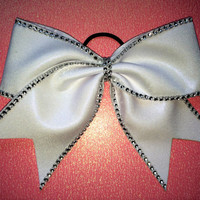 The Arianna - White Mystique with Rhinestones Cheer Bow