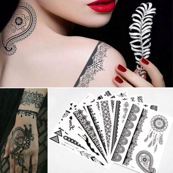 (SALE) 6Pcs/set Black Lace Body Wreath Sexy Temporary Tattoo Waterproof Lotus Flower Waist Circle Henna Tattoo Sticker