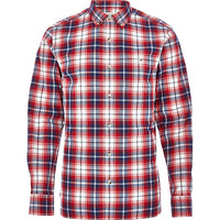 River Island MensRed check roll sleeve shirt