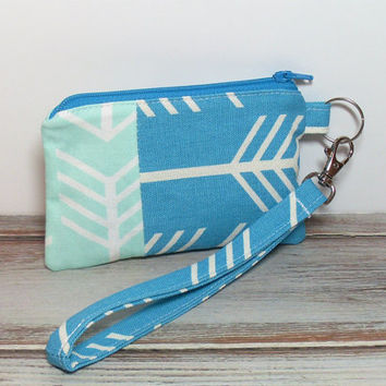 Coin Purse Wristlet, Change Purse, Card Holder, Arrow Coin Purse, Small Wristlet Bag, Small Coin Purse, Mint Coin Purse, Mint Arrows