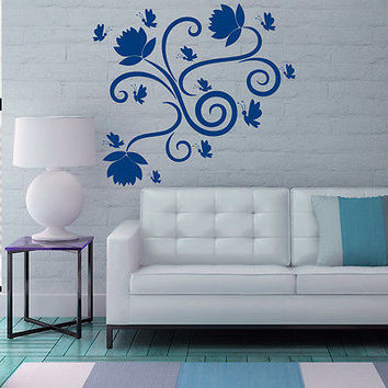 Wall Decals Lily Flower Decal Butterfly Vinyl Bedroom Home Decor Sticker MR326