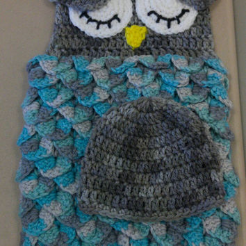 Owl cocoon - crochet owl cocoon - newborn boy photo prop - owl blanket - owl baby blanket - owl photo prop