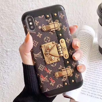 LV Louis Vuitton New fashion monogram print leather couple protective cover phone case