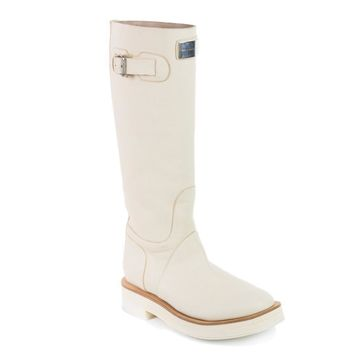 Brunello Cucinelli Womens Ivory Leather Knee High Boots