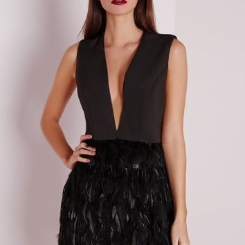 Missguided - Premium Feather Skirt Plunge Dress Black
