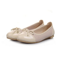 Patent Leather + Cloth Summer Shoes Flats Casual Shoes Mixed Colors Bow Flat Shoes for Women Ballet Shoes