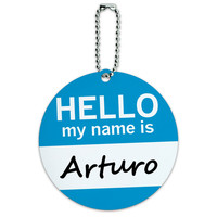 Arturo Hello My Name Is Round ID Card Luggage Tag