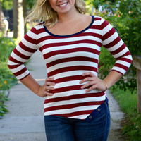 Scoop Neck Stripe Knit Top