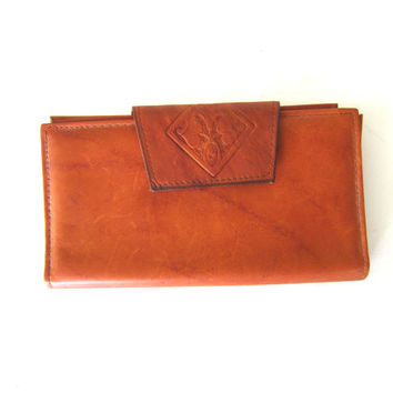 Brown Leather Wallet Amity cowhide billfold coin purse Women's Western Cowgirl Wallet Hipster Boho Chic