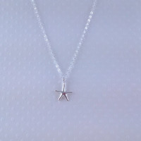 Tiny Sterling Silver Starfish Necklace- Sterling Silver Chain