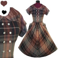 Vintage 40s 50s Brown PLAID Cotton Rockabilly Dress S M Pockets FULL SKIRT Pinup