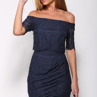 Navy Blue Floral Lace Off-Shoulder Mini Dress