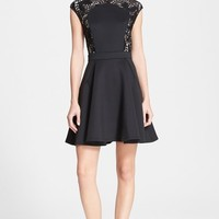 Women's Ted Baker London 'Vivace' Lace Panel Fit & Flare Dress