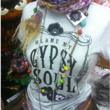 Gypsy Soul Boho Shirt MEDIUM Women's Blame my Gypsy by bohocircus