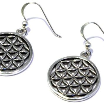 Flower of Life Silver Earrings 925 Sterling Jewelry
