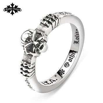 Vintage Hip-hop Punk skull Stainless steel Roman letter god bless the word tail Ring Skeleton for Uniex