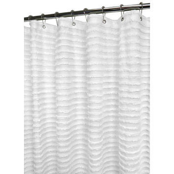 Ultra Spa by Park B. Smith RETS40-WHT White 6 Ft. x 6 Ft. Restro Stripe Shower Curtain