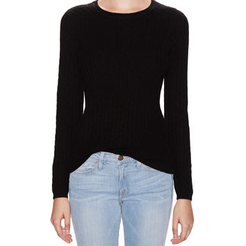 In Cashmere Women's Cashmere Cable Knit Sweater - Black -
