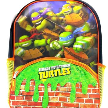 "Teenage Mutant Ninja Turtles 16"" Canvas Green & Orange School Backpack"