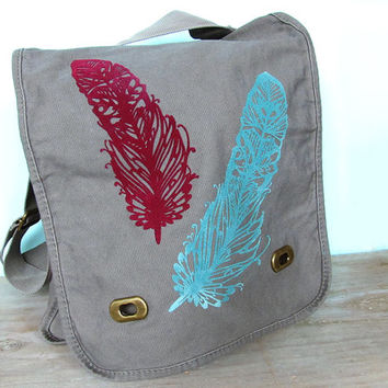 Feather Zentangle Field Bag