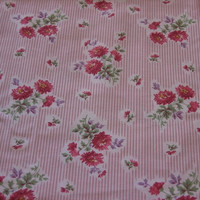 Vintage Fabric Pink Stripes with Pink Maroon and Purple Flowers - 2 YARDS 15 INCHES