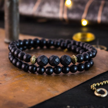 Double wrap matte black onyx beaded stretchy bracelet with bronze accents, made to order yoga bracelet, mens bracelet, womens bracelet