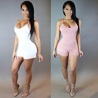 2016 Summer sexy rompers womens jumpsuit cotton fashion backless bodysuit sexy play suits macacao ladies wear