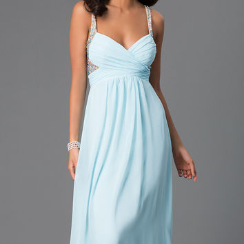 Sleeveless Blue Prom Gown by LA Glo