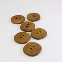6 Handmade Applewood buttons- 30mm (1.2in)- Natural Wood Buttons- Wooden Buttons