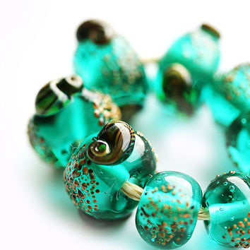 Teal green handmade lampwork glass beads ocean by MayaHoney