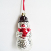 Vintage Snowman Christmas Ornament, Mercury Glass, Marked West Germany collectibles