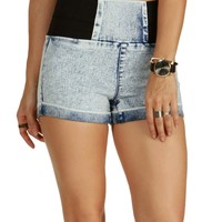 Sale-denim Acid Wash Elastic Sides Shorts