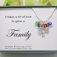 Gift for grandma, Family tree necklace, Sterling silver Tree of life Swarovski birthstone necklace, Christmas gift for wife, mom