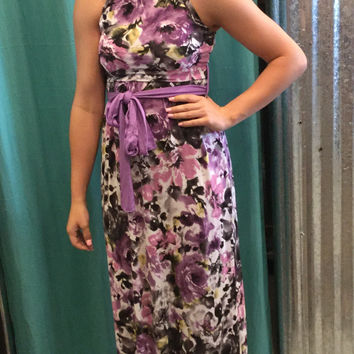 High Neck Purple Floral women's Maxi with Tie